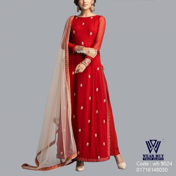 red Long embroidery three piece women's dress for online shopping bd
