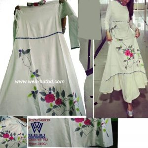 Off white ladies |women's latest trendy design kutyi kameez style long dress wearhutbd.com online shopping