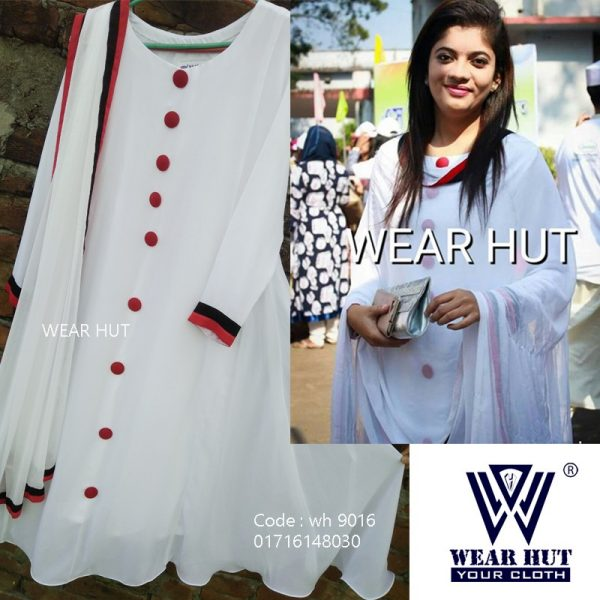 Red white pakistani long gown style kurti for women's online shopping bd