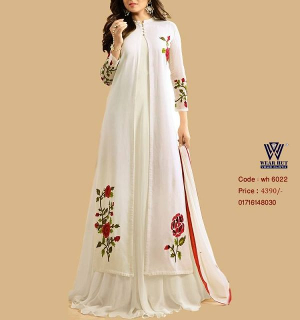 White red koti style coti long gown dress design for women's online shopping bd wear