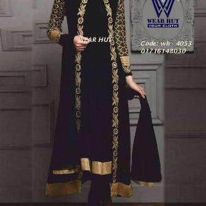 Black long koty style women's online shopping for embroidery koti  coti design for girls shopping in bd