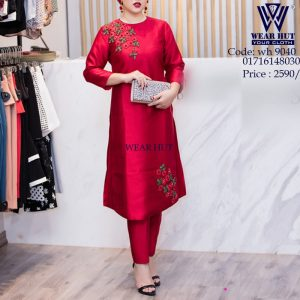 Red dress embroidery gorgeous women's cloth in online shopping in Dhaka Bangladesh