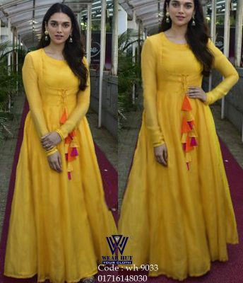 Yellow long gown type dress womens online shopping in bd