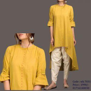 Deep yellow long casual women's design kurti online shopping for women cloth