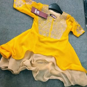 Yellow Brown color embroidery baby girls long dress for online shopping bd