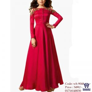 Red long gown with embroidery dress for women's online shopping wear hut bd in Dhaka Bangladesh