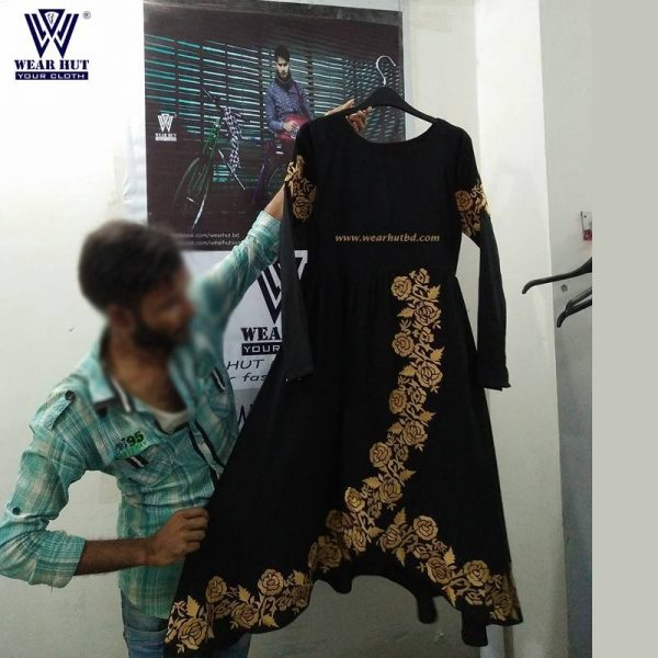 long women's Black color with gorgeous Embroidery dress online shopping wear hut bd
