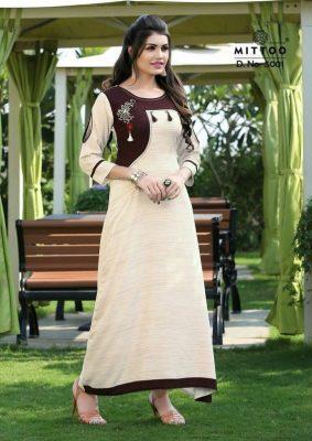 Long stitched kurti type modern bangladeshi dress of white and maroon colour mixed of wearhut bd
