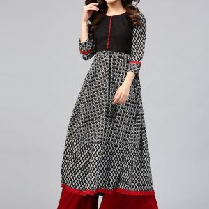 Black and White frock style New Jama Design 2021 Dress for Girls Eid CollectionBlack-and-White-BW-stylish-frock-style-lond-dress-kurti-standered-trend-for-bangladeshi-women-eid-collection-2018.