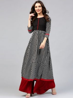 Black and White/ B&W stylish frock style lond dress kurti standered trend for bangladeshi women eid collection 2018