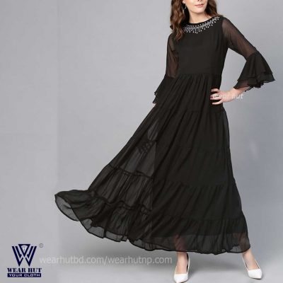 Black long kurti design for women's girls in BD