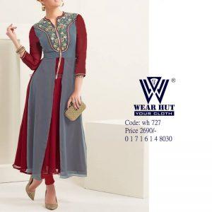 long kurti design for girl - maroon ash embroidery kurti design pic for girl 2021