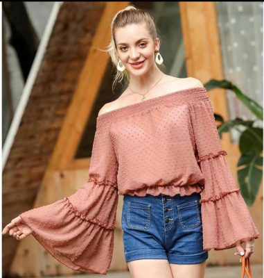 Bell-sleeved Tops design for girls in Bangladesh USA India